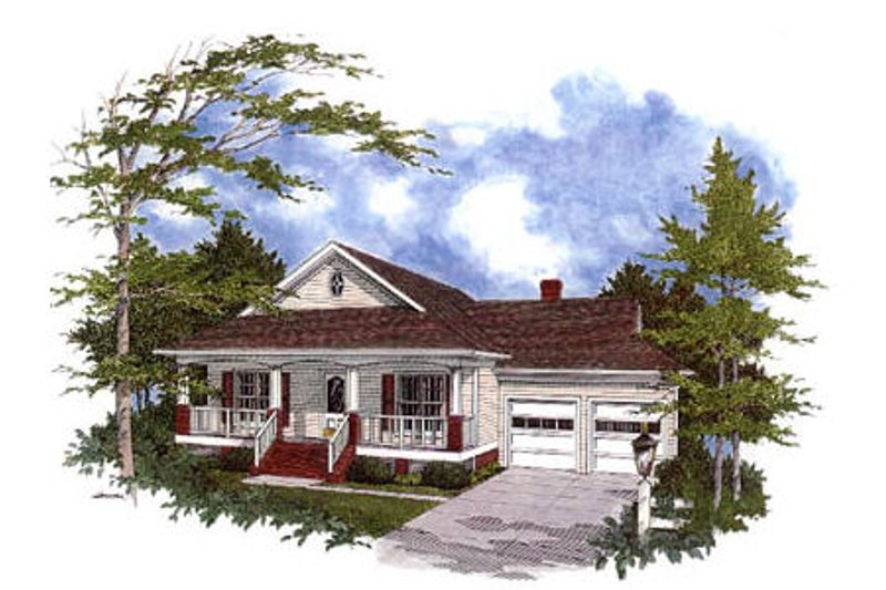 Cottage Exterior - Front Elevation Plan #56-140