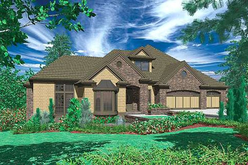 European Exterior - Front Elevation Plan #48-133 - Houseplans.com