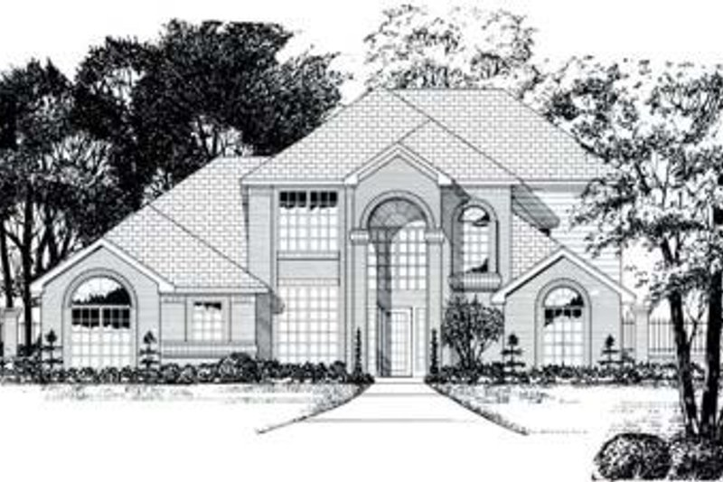 Traditional Style House Plan - 4 Beds 3 Baths 2391 Sq/Ft Plan #62-112 Exterior - Front Elevation