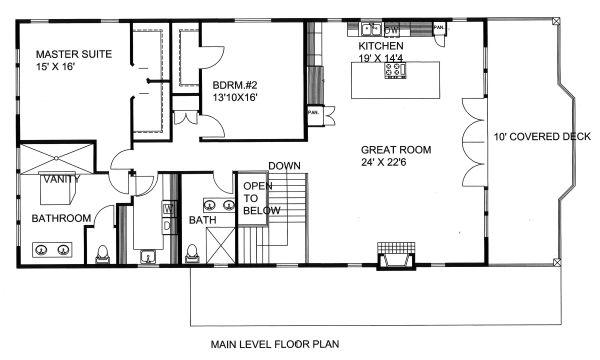 Contemporary Floor Plan - Main Floor Plan Plan #117-885
