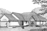 European Style House Plan - 3 Beds 2 Baths 1627 Sq/Ft Plan #11-105 Exterior - Front Elevation
