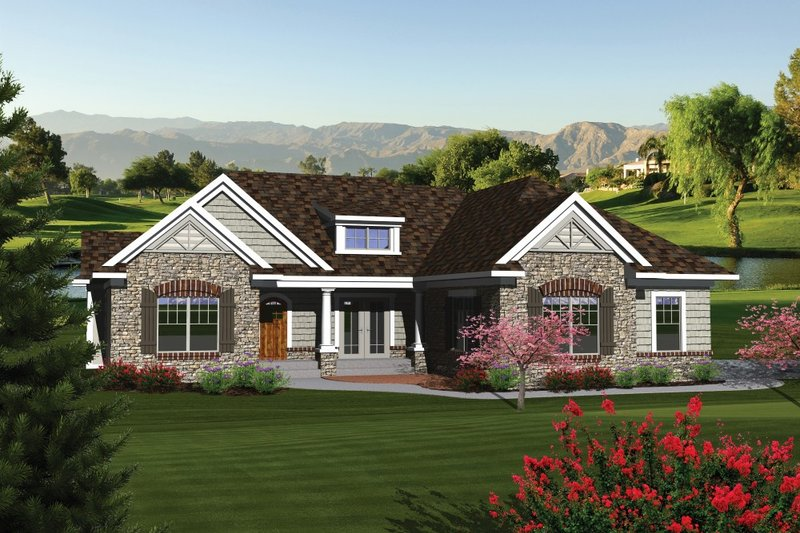Ranch Exterior - Front Elevation Plan #70-1079