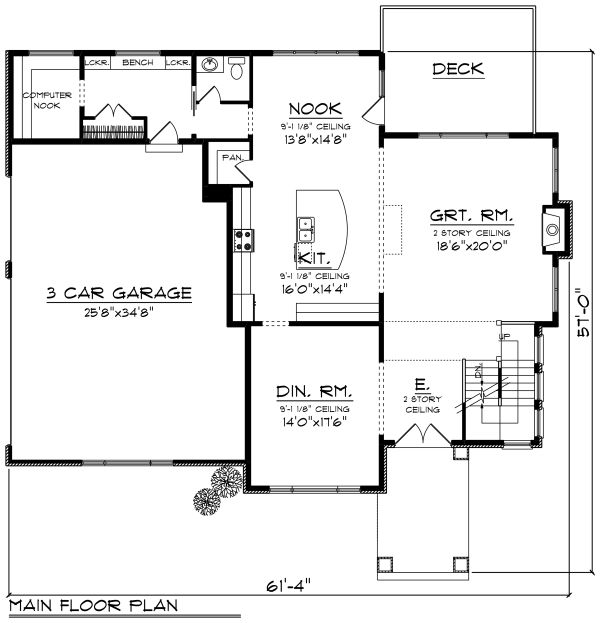 Prairie Floor Plan - Main Floor Plan Plan #70-1283