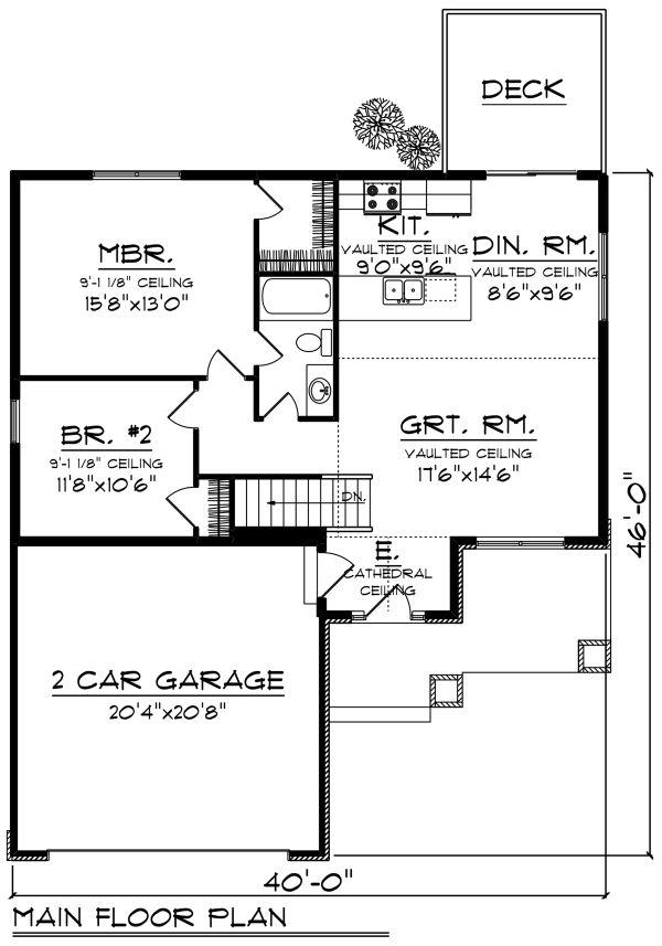 Craftsman Floor Plan - Main Floor Plan #70-1256
