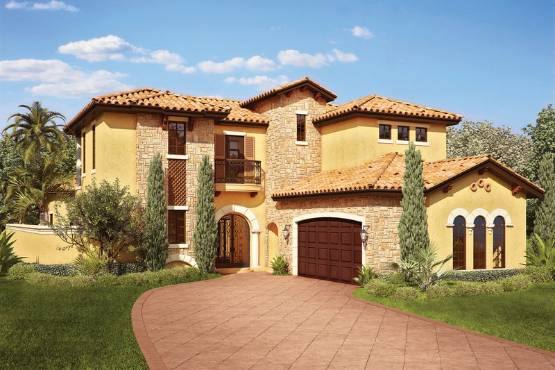 Mediterranean Exterior - Front Elevation Plan #930-22 - Houseplans.com