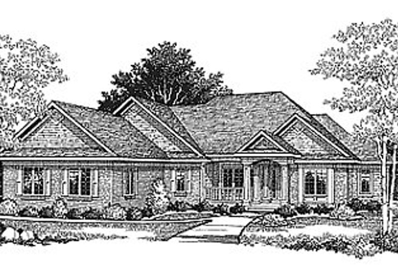 Traditional Style House Plan - 4 Beds 2.5 Baths 3228 Sq/Ft Plan #70-206 Exterior - Front Elevation
