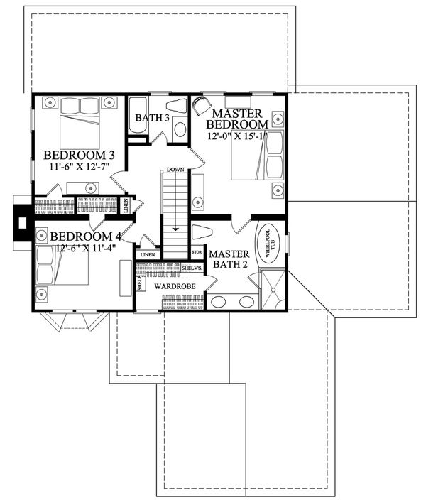 Colonial Floor Plan - Upper Floor Plan Plan #137-287