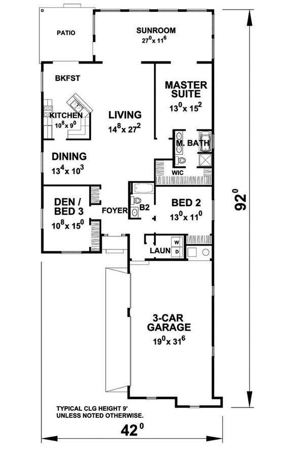 Ranch Floor Plan - Main Floor Plan Plan #20-2285