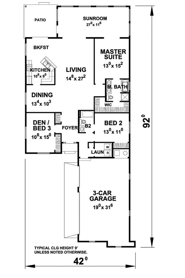 Ranch Floor Plan - Main Floor Plan Plan #20-2285