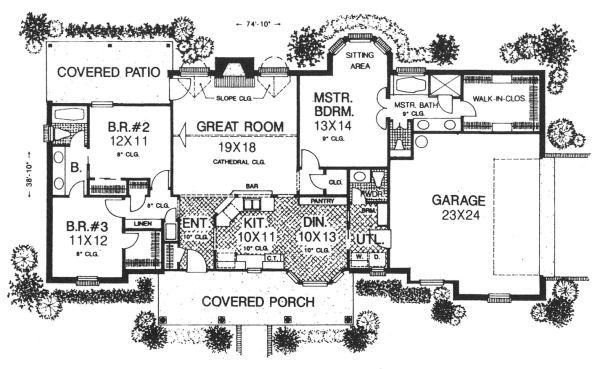 Farmhouse Floor Plan - Main Floor Plan #310-605
