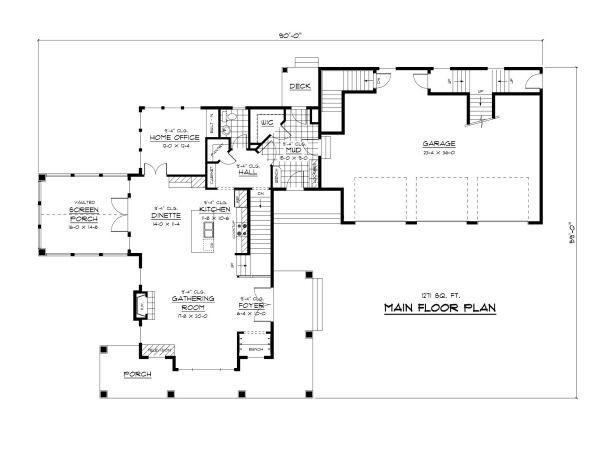 Farmhouse Floor Plan - Main Floor Plan Plan #51-300