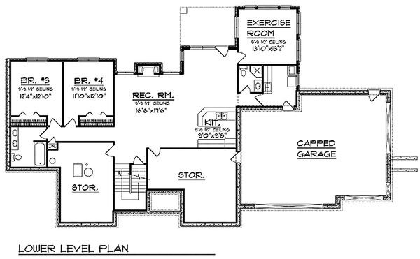 Traditional Floor Plan - Lower Floor Plan Plan #70-620