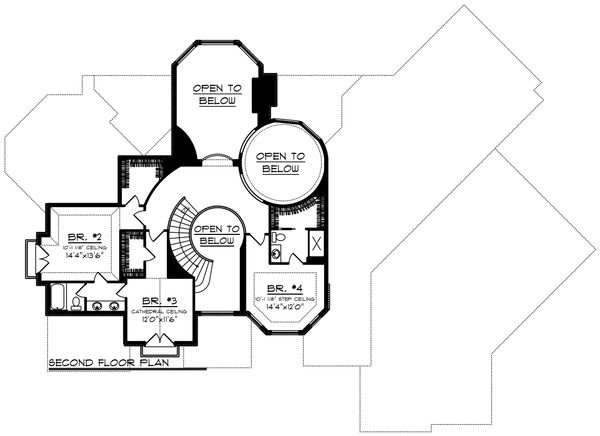Traditional Floor Plan - Upper Floor Plan Plan #70-1434
