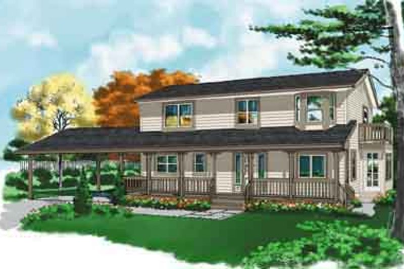 Traditional Style House Plan - 3 Beds 2.5 Baths 2215 Sq/Ft Plan #118-110 Exterior - Front Elevation