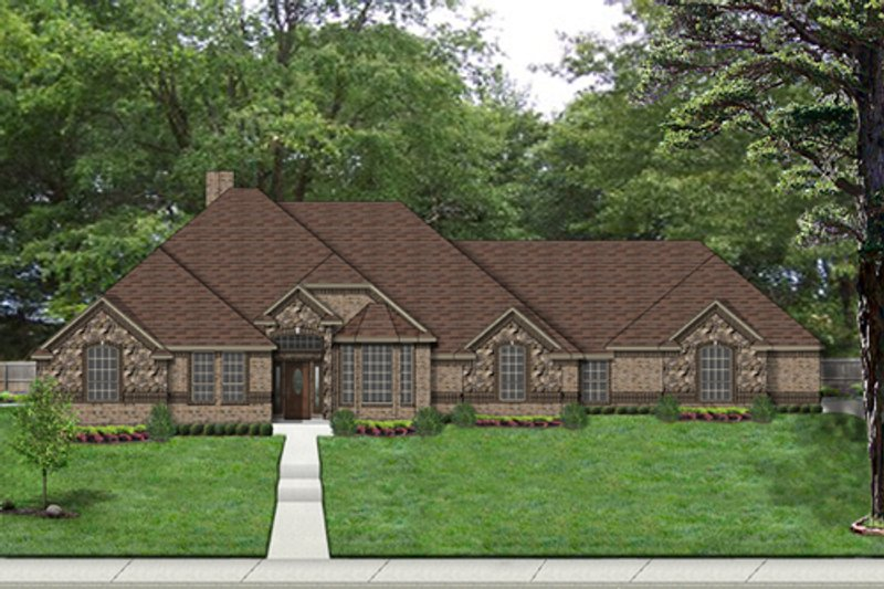 European Style House Plan - 4 Beds 3 Baths 2760 Sq/Ft Plan #84-522 Exterior - Front Elevation