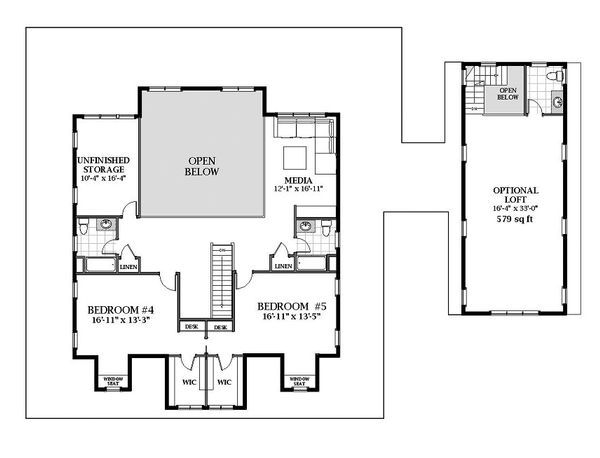 Farmhouse Floor Plan - Upper Floor Plan Plan #898-53