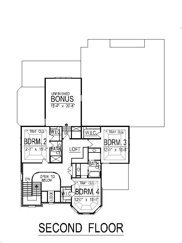 European Floor Plan - Upper Floor Plan Plan #458-3