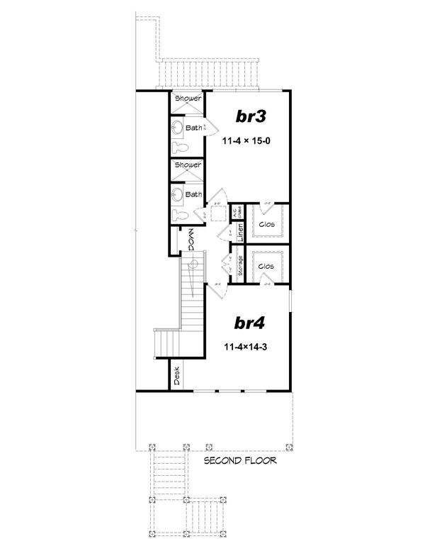 Beach Floor Plan - Upper Floor Plan Plan #932-274