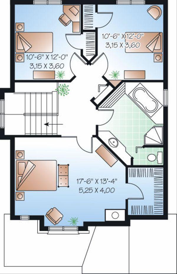Traditional Floor Plan - Upper Floor Plan Plan #23-834