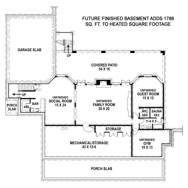 Dream House Plan - Country Floor Plan - Lower Floor Plan #119-216