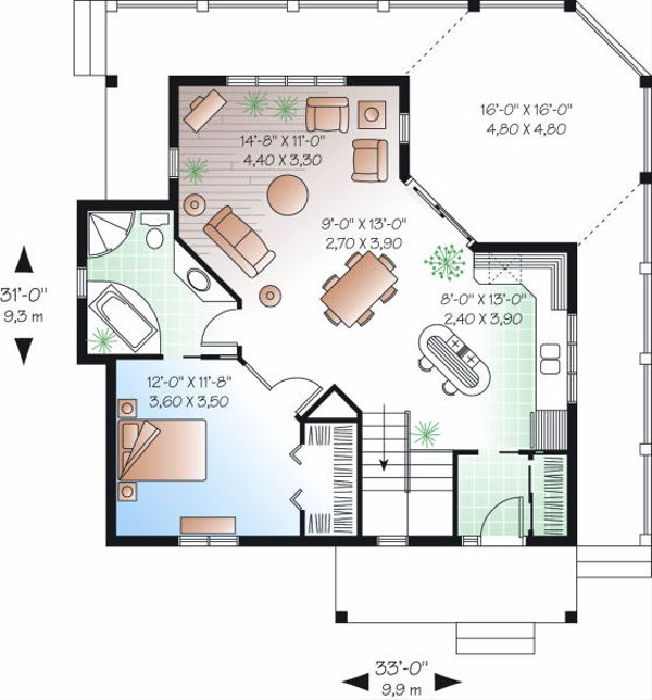 Cottage Floor Plan - Main Floor Plan Plan #23-847