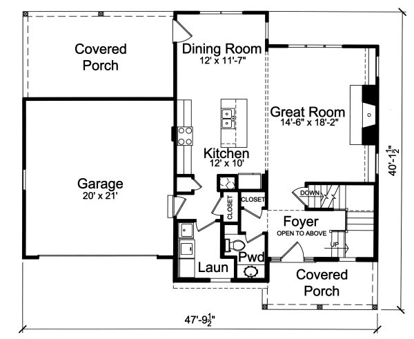 Traditional Floor Plan - Main Floor Plan Plan #46-890