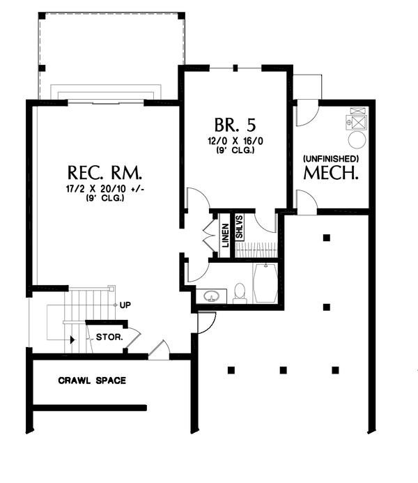 Dream House Plan - Cottage Floor Plan - Lower Floor Plan #48-997