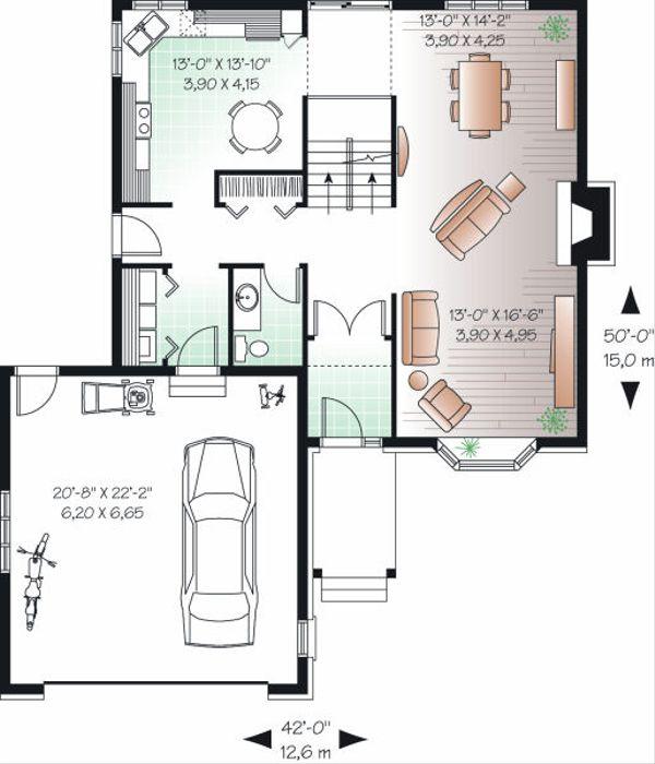 European Floor Plan - Main Floor Plan Plan #23-746