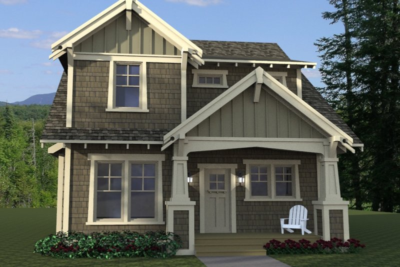 Architectural House Design - Craftsman Exterior - Front Elevation Plan #51-566