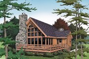 Cabin Style House Plan - 3 Beds 3 Baths 1814 Sq/Ft Plan #456-10 Exterior - Front Elevation
