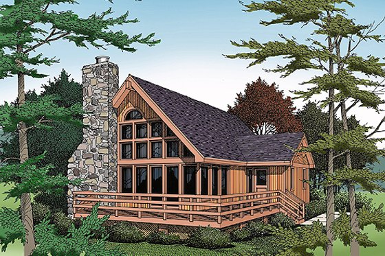 Cabin Exterior - Front Elevation Plan #456-10