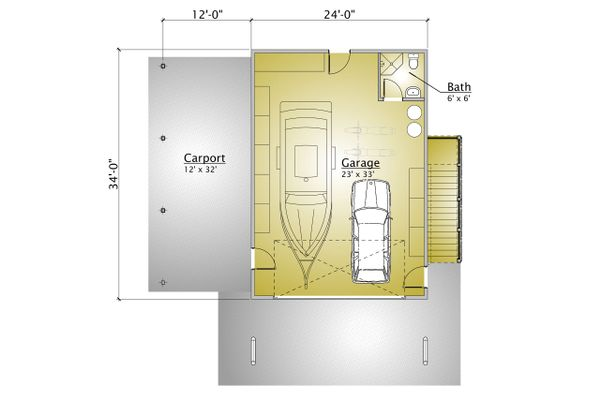 Cabin Style House Plan - 1 Beds 2 Baths 863 Sq/Ft Plan #910-3 Floor Plan - Lower Floor Plan