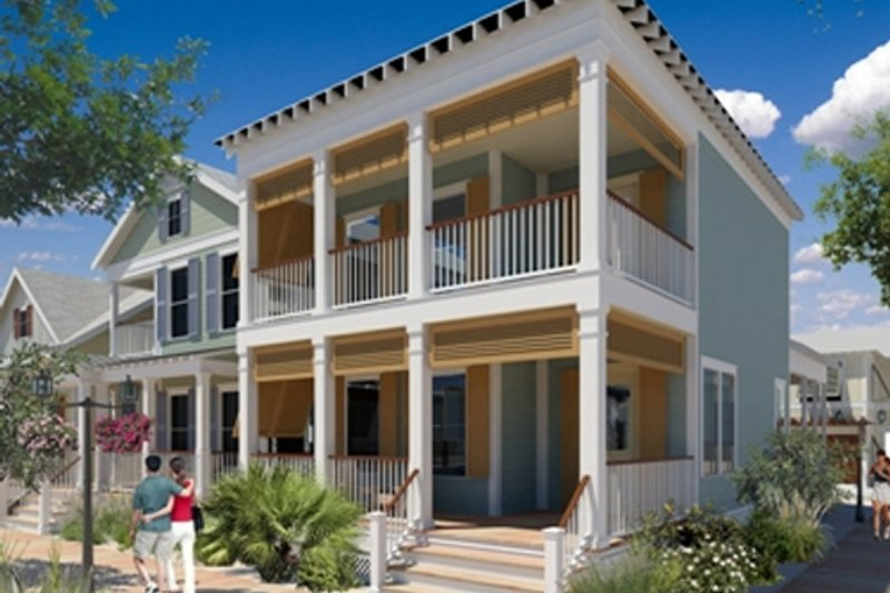 Beach Style House Plan - 3 Beds 2.5 Baths 1701 Sq/Ft Plan #442-4 Exterior - Front Elevation