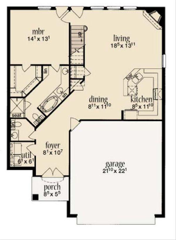 Cottage Floor Plan - Main Floor Plan Plan #36-457