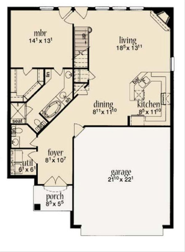 Cottage Floor Plan - Main Floor Plan Plan #36-457