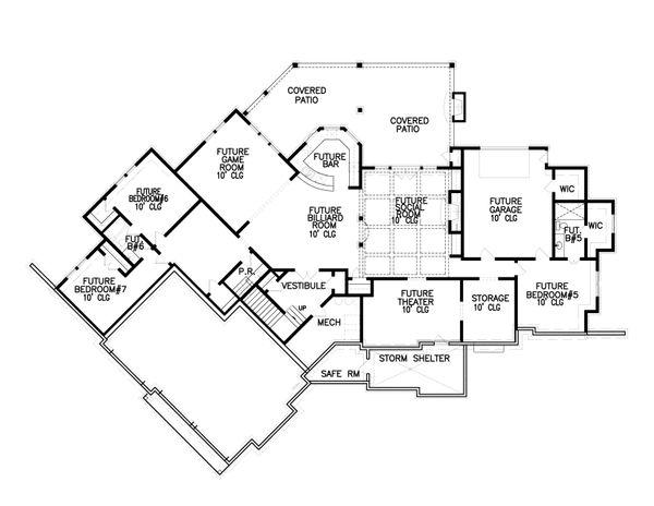 Craftsman Floor Plan - Lower Floor Plan #54-386