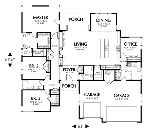 Home Plan - Modern Floor Plan - Main Floor Plan #48-603