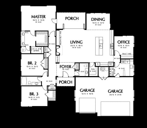 Modern Floor Plan - Main Floor Plan #48-603