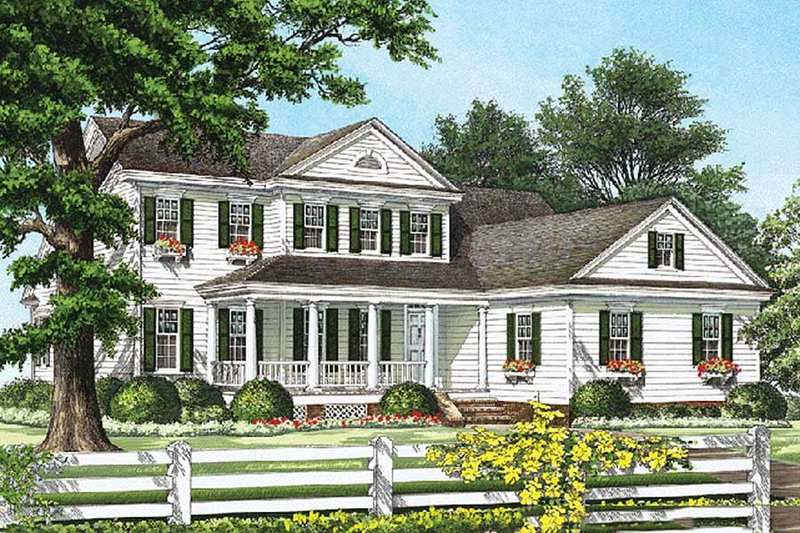 Southern Exterior - Front Elevation Plan #137-212 - Houseplans.com