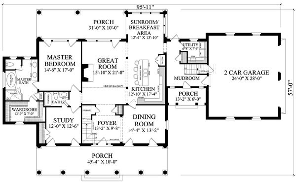 Dream House Plan - Colonial style, Southern design house plan, main level floorplan