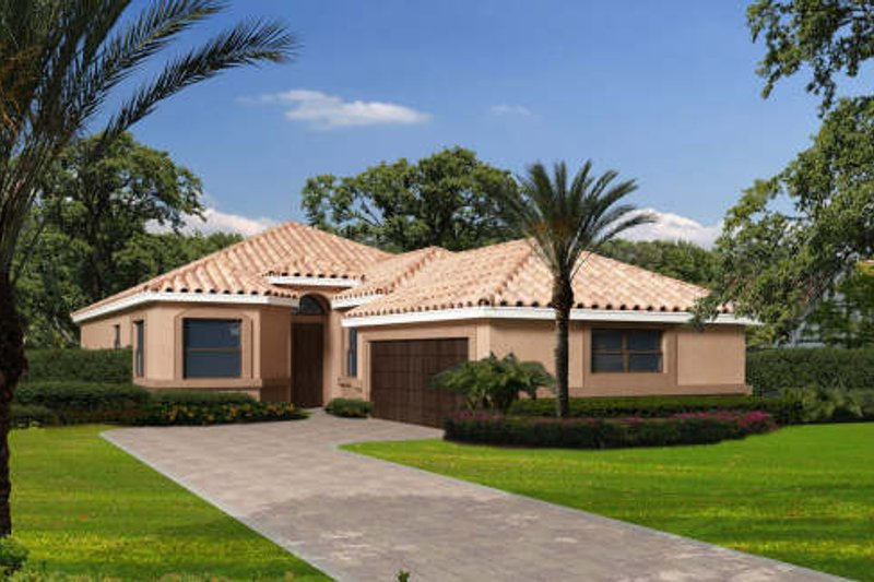 Mediterranean Style House Plan - 3 Beds 2.5 Baths 1856 Sq/Ft Plan #420-257 Exterior - Front Elevation