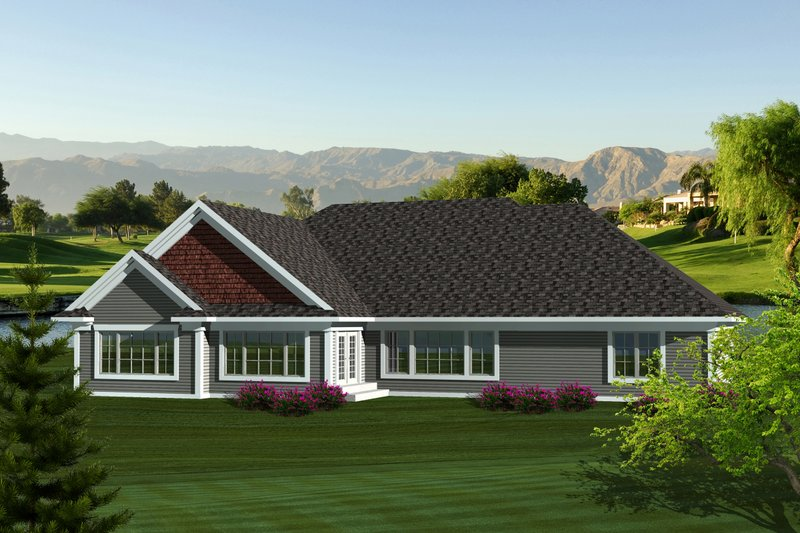 Ranch Exterior - Rear Elevation Plan #70-1123 - Houseplans.com