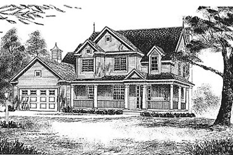 Country Style House Plan - 4 Beds 2.5 Baths 1953 Sq/Ft Plan #70-253 Exterior - Front Elevation