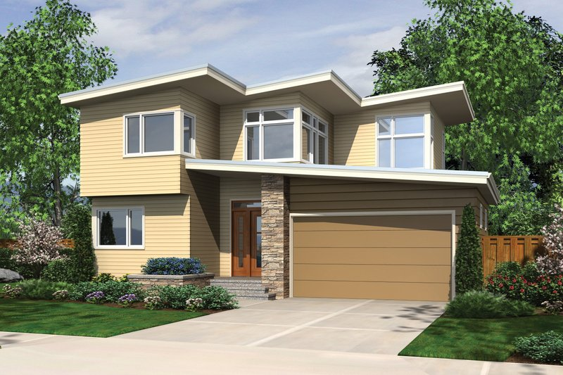 Contemporary Exterior - Front Elevation Plan #48-692