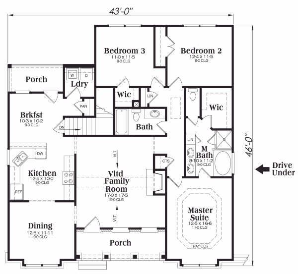 Traditional Floor Plan - Main Floor Plan Plan #419-170