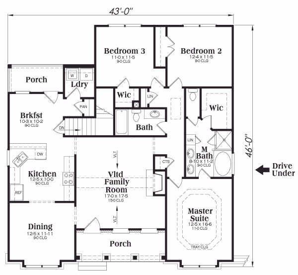 Traditional Floor Plan - Main Floor Plan Plan #419-170