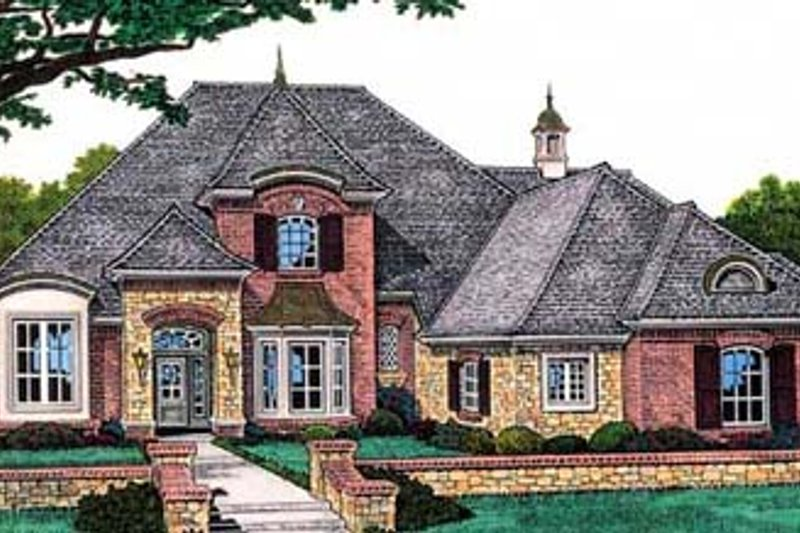 European Style House Plan - 4 Beds 3.5 Baths 3074 Sq/Ft Plan #310-558 Exterior - Front Elevation
