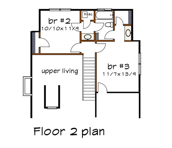 Bungalow Floor Plan - Upper Floor Plan #79-314