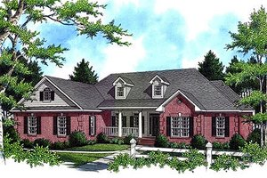 House Blueprint - Front View - 2800 square foot Country home