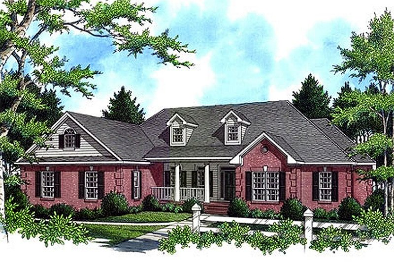 Architectural House Design - Front View - 2800 square foot Country home